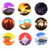 Set of wild nature round landscape, tropical, mountain, northern scenery at different times of day vector illustrations Stock Photo