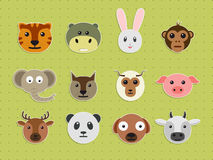 Set of wild and pet animal faces. Stock Image
