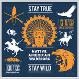 Set of wild west american indian designed elements. Royalty Free Stock Photos
