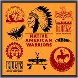 Set of wild west american indian designed elements. Monochrome style Stock Photo