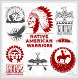 Set of wild west american indian designed elements. Monochrome style Royalty Free Stock Photos