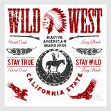 Set of wild west american indian designed elements. Monochrome style Royalty Free Stock Images