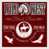 Set of wild west american indian designed elements. Monochrome style Stock Photos
