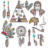 Set of wild west american indian designed elements. Stock Photos