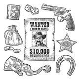 Set with Wild West and casino symbols. Vector vintage engraving black illustration Stock Photo