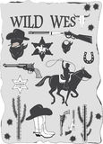 Set of wild west cowboy designed elements Stock Photography