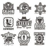 Set of wild west logos Royalty Free Stock Photos