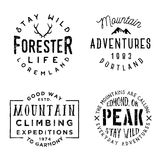 Set of wilderness badges in retro vintage style. Monochrome logos, typography design Royalty Free Stock Photos