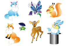 Set of the wildlifes cartoon Royalty Free Stock Photos