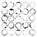 Set wina lub kawy plamy Punkty i splatters czarne sylwetki również zwrócić corel ilustracji wektora ilustracja wektor