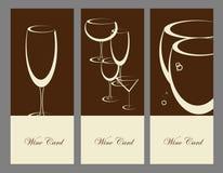 Set wina sztandaru alkoholu napoju szkła Obrazy Royalty Free