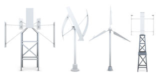Set of wind electricity generators. Alternative sources of energ Stock Photography