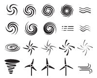 Set of wind icons in many style Royalty Free Stock Images