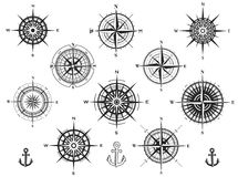 Set of compass roses or wind roses Royalty Free Stock Images