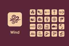 Set of wind simple icons Royalty Free Stock Photo