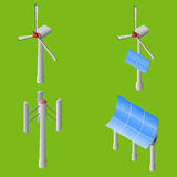 Set of wind turbines and solar panels. Isometric vector illustration Stock Images