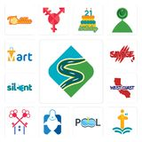 Set of winding road, first class, pool company, fishing store, , west coast, silent, savage, mart icons. Set Of 13 simple editable icons such as winding road Stock Images