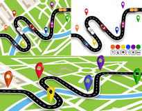 Set of winding roads with signs. On the map of the city and without. Movement of vehicles. The path is indicated by the Royalty Free Stock Photo