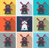 Set of windmill web icons Royalty Free Stock Images