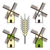 Set of windmills Royalty Free Stock Photo
