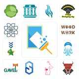 Set of window cleaning, butcher shop, maternity, s hexagon, gavel, jellyfish, military, woodwork, celtic knot icons. Set Of 13 simple editable icons such as Stock Images