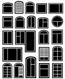 Set window silhouette. Isolated icon set with black window silhouette royalty free illustration