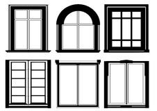 Set of windows in black color. Isolated on white Royalty Free Stock Photo