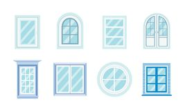 Set of windows different shapes,materials and colors. Royalty Free Stock Photo