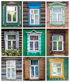 Set of windows of russian houses. Royalty Free Stock Image