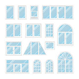 Set windows with transparent blue glass Royalty Free Stock Photo