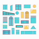 Set of Windows Vector Illustrations In Flat Style. Royalty Free Stock Images