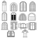 A set of windows vector. Set of vintage windows made in vector Royalty Free Stock Image