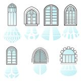A set of windows vector. Set of vintage windows made in vector Royalty Free Stock Photography