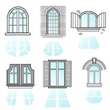 A set of windows vector2. Set of vintage windows made in vector Royalty Free Stock Images