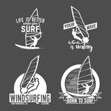 Set of windsurfing badges and logos Royalty Free Stock Image