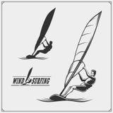 Set of windsurfing emblems, labels and badges. Surf design elements. vector illustration