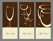 Set of wine banner alcohol drink glasses Royalty Free Stock Images