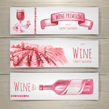 Set of  wine banners and labels design Stock Image