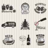 Set of wine and  beer signs Stock Image