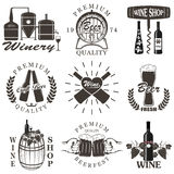 Set of wine and beer signs, badges Royalty Free Stock Photo