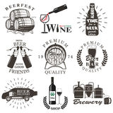 Set of wine and beer signs, badges Royalty Free Stock Photography