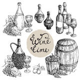 Set of wine bottle and barrel  grapes Stock Images