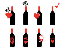 Set of wine bottle with design element Stock Image