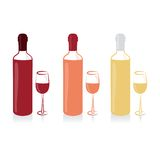 Set of wine bottle and glass Stock Photos