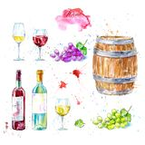 Set of wine, bottle, glasses,wooden barrel and grapes. vector illustration