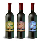 Set of Wine bottle with label. Stock Image