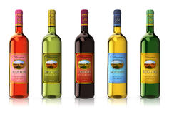 Set of wine bottles Royalty Free Stock Images