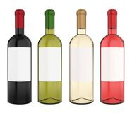 Set of Wine Bottles with Blank Label Isolated. On white background. 3D render Royalty Free Stock Photography