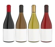 Set of Wine Bottles with Blank Label Isolated. On white background. 3D render Royalty Free Stock Images