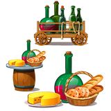 Set of wine bottles, cheese, bread,. Delicious food on barrel, in wooden trolley and wicker basket. Vector. Illustration in cartoon style isolated on white vector illustration